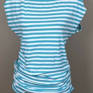 Michael Kors Womens Aqua White Striped Ruched Top